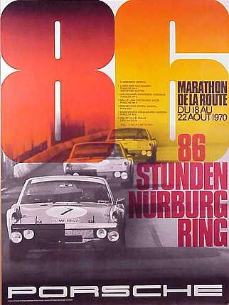 Porsche on Porsche Poster  86 Stunden Nurburgring  Marathon De La Route